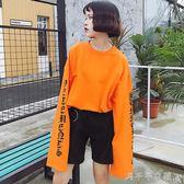 長袖女t恤學生韓國bf風寬鬆原宿潮印花字母大碼百搭上衣服千千女鞋