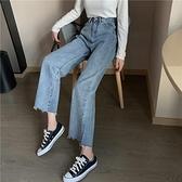 簡約基礎款高腰寬鬆顯瘦闊腿牛仔褲女直筒褲子春季新款九分褲 全館鉅惠
