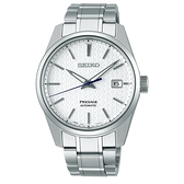 《台南 時代鐘錶 SEIKO》精工 Presage 菱格立體面 鋼錶帶機械男錶 SPB165J1 /6R35-00V0S 白 39.3mm