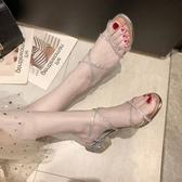 高跟涼鞋粗跟羅馬涼鞋女仙女風2020新款夏季網紅百搭一字帶水鉆中跟高跟鞋 貝芙莉