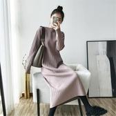 針織洋裝網紅加長毛衣裙過膝女秋冬季內搭豎條紋針織打底衫中長款連身裙春 春季特賣