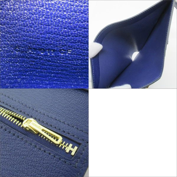HERMES M3 Bleu Encre 墨水藍山羊皮H字短夾 Bearn Compact【二手品牌 BRAND OFF】