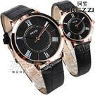 KEZZI珂紫 羅馬風情 都會腕錶 黑x玫瑰金 皮帶 女錶 KE994玫黑小