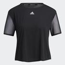 Adidas SEASONAL DANCE 女裝 短袖 訓練 健身 吸濕排汗 拼接網布 黑【運動世界】GP6788