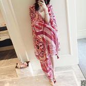 沙灘巾 夏季棉麻紅色民族風旅游海邊度假防曬圍巾披肩絲巾沙灘巾女 5色