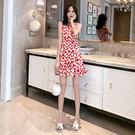 VK精品服飾 韓系時尚圓領收腰圓點印花背心裙無袖洋裝