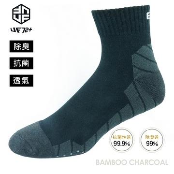 [UF72] elf除臭竹炭止滑加厚氣墊郊山襪 UF5713-黑色24-28
