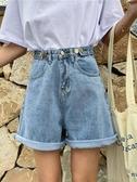 牛仔短褲個性高腰紐扣牛仔短褲女春夏復古寬鬆捲邊闊腿褲學生熱褲 新年特惠