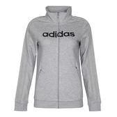 Adidas MV TT LIN 3S 女 灰 黑 字母立領棉質夾克 外套 運動休閒風 透氣 愛迪達 CF3652