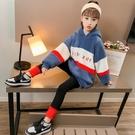 衣童趣(•‿•)韓版女童 秋冬雙層加厚保暖套裝 拼色毛毛上衣+黑色內搭長褲 百搭套裝
