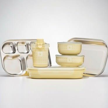 美國 Kangovou 小袋鼠不鏽鋼安全兒童餐具組-檸檬黃