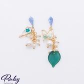 耳環 韓國直送‧蝴蝶花瓣珍珠不對稱耳環-Ruby s 露比午茶