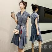 牛仔洋裝女中長款2021夏裝新款韓版寬鬆顯瘦收腰短袖荷葉邊長裙 小時光生活館