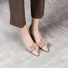 手工真皮女鞋34~41 2021優雅百搭小牛皮貂毛蝴蝶結尖頭中跟鞋 OL工作鞋~2色