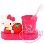 ♥小花花日本精品♥hello kitty凱蒂貓手握蘋果立體造型牙刷架+漱口杯組 衛浴必備刷牙50008803