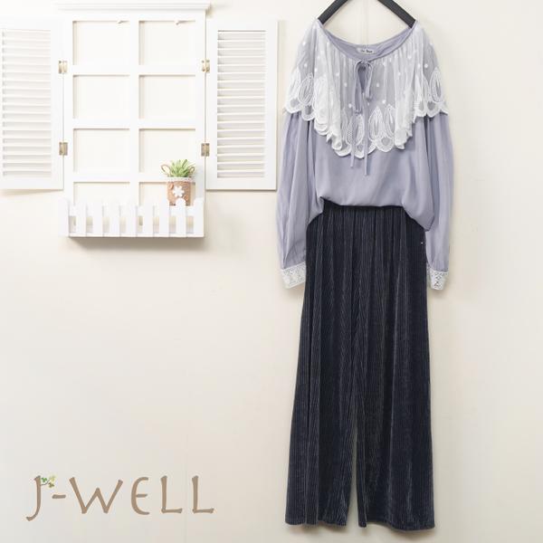 J-WELL 童話公主款綁帶上衣絨面寬褲二件組(組合A488 9J1036灰+8J1299灰藍)