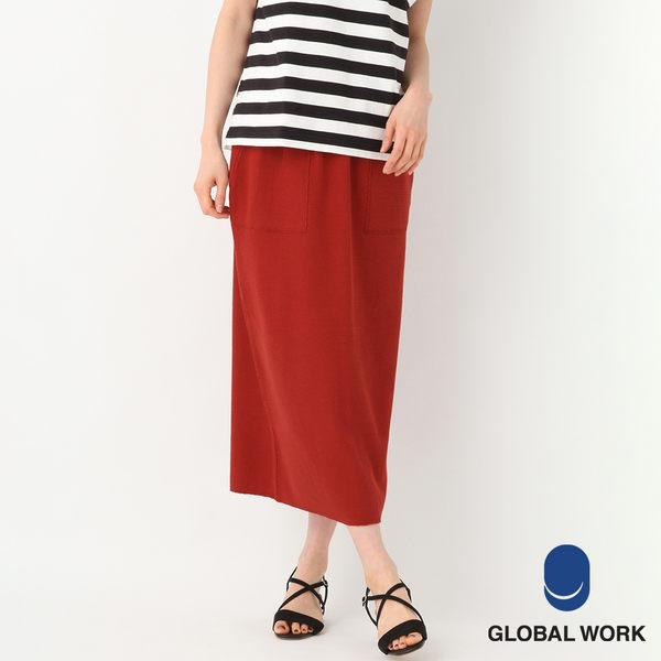 GLOBAL WORK女素色鬆緊綁帶高腰大口袋後開衩半身裙長裙-四色