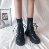 短靴 瘦瘦鞋網紅馬丁靴女夏季新款百搭春秋單靴薄款英倫風短靴子-Ballet朵朵
