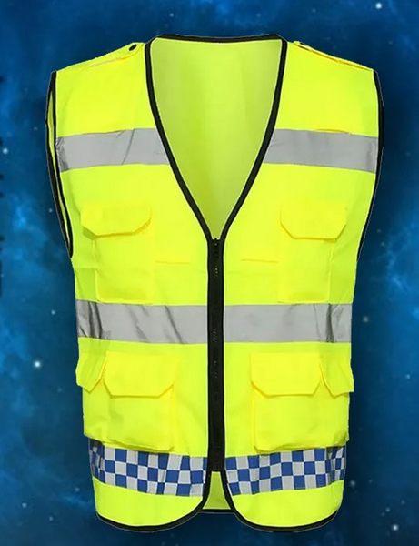 反光背心V領拉鍊口袋設計高反光灰條