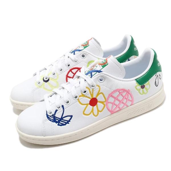 adidas 休閒鞋 Stan Smith W 白 綠 女鞋 三葉草 愛迪達 塗鴉圖騰 花花 【ACS】 FX5653