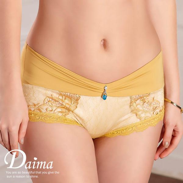 內褲 蠶絲V型誘惑刺繡蕾絲美臀褲(富貴黃) -欣賞典雅內著