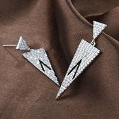 耳環 925純銀 鑲鑽-個性幾何情人節生日禮物女飾品73hz101【時尚巴黎】