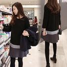 【愛天使孕婦裝】韓版(83319)磨毛棉 韓版三色拼接顯瘦洋裝 孕婦裝