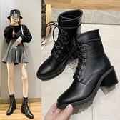 黑色靴子.經典質感皮革繫帶高跟馬汀短靴.白鳥麗子