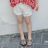 童裝夏裝素色破洞牛仔短褲子女童流蘇打底褲兒童百搭褲女寶 全館免運