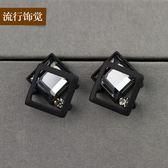 幾何圖形四方框造型水晶耳環耳釘韓版時尚耳飾 萬客居