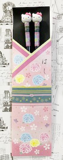 【震撼精品百貨】Hello Kitty 凱蒂貓~三麗鷗 kitty 日本造型竹筷/筷子(21CM)-和風粉#12342