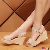 【Bbay】楔型涼鞋 坡跟涼鞋 平底 高跟鞋 粗跟 防滑 厚底 魚嘴鞋