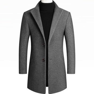 毛男秋冬外套男2020新款呢大衣修身羊毛男裝中長款《蓓娜衣都》