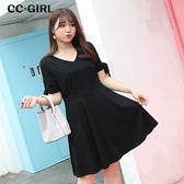 中大尺碼 黑色袖開叉綁帶V領洋裝 - 適XL~4L《 66459K 》CC-GIRL