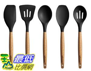 [8美國直購] 廚具套裝 Miusco 5 Piece Silicone Cooking Utensil Set with Natural Acacia Hard Wood Handle, Black