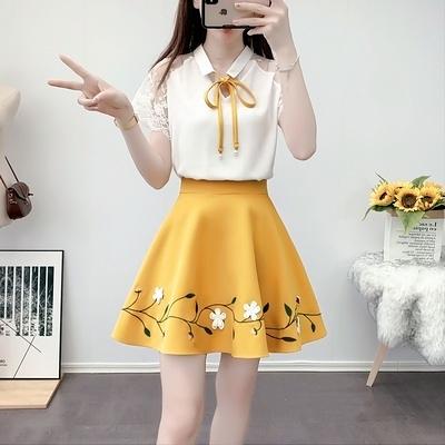 兩件式洋裝 夏季網紅減齡法式網紗拼接襯衫高腰刺繡蓬蓬裙兩件套H311-E.1號公館