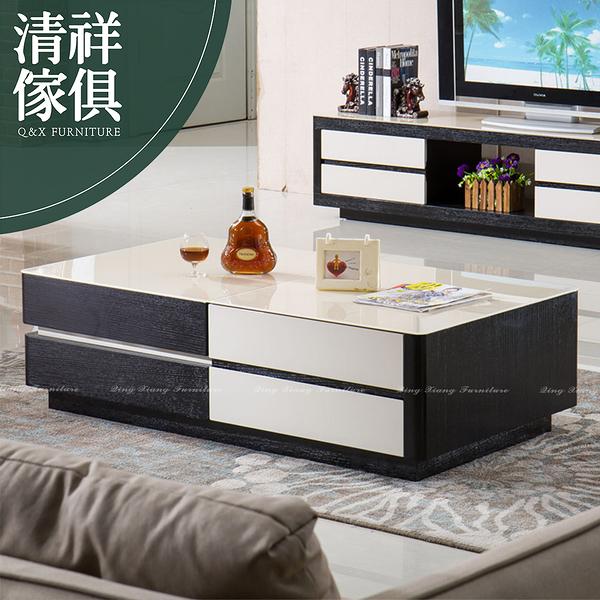 【新竹清祥傢俱】PLT-12LT61 - 現代簡約設計雙色大茶几 客廳 現代 茶几 玻璃面 收納茶几 置物