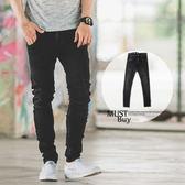 牛仔褲 微洗舊刷色3D立體剪裁黑色牛仔褲【N9977J】