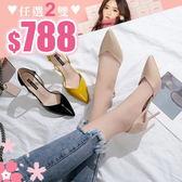 任選2雙788高跟鞋韓版熟女風氣質百搭尖頭鏤空細高跟鞋【02S9433】