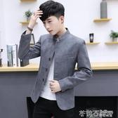 春季男士休閒小西裝外套2019新款韓版青年修身潮流中山裝西服上衣 茱莉亞