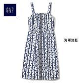 GAP x CONSTANCE TSUI女童 印花吊帶收腰洋裝 358344-海軍淺藍