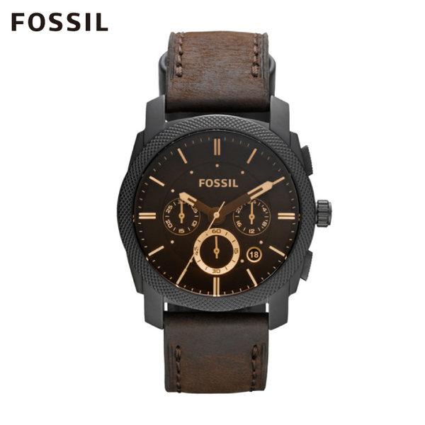 FOSSIL Machine 深褐色皮革計時手錶 男