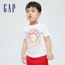Gap男幼童 布萊納系列 海灘風印花純棉短袖T恤 701446-白色