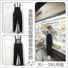 新款胖MM寬鬆200斤破洞背帶褲女學生韓版高腰彈力直筒牛仔褲黑色 快速出貨