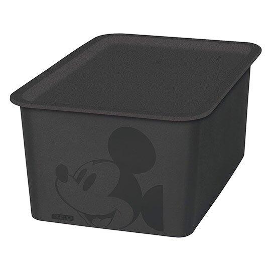 小禮堂 迪士尼 米奇 日製 方形塑膠拿蓋收納箱 玩具箱 衣物箱 4L (S 黑 大臉) 4904121-34311