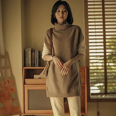 高領長袖毛衣 前短後長針織衫 打底針織衫女-夢想家-1030