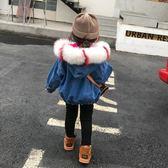 雙十二狂歡 冬季新款女童寶寶中小童狐貍毛領加絨加厚牛仔夾克兒童洋氣外套潮 挪威森林