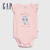 Gap嬰兒 布萊納系列 童趣印花信封領包屁衣 580539-淺粉色