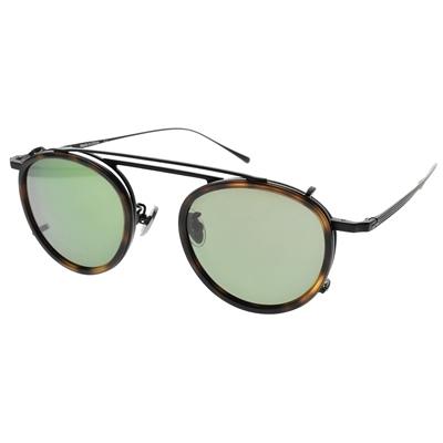 NINE ACCORD 光學眼鏡 TI OVERLAP C1 (霧黑 琥珀-霧黑-綠 偏光鏡片) 復古細圓框 附前掛式墨鏡 鈦眼鏡