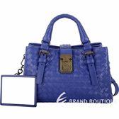 BOTTEGA VENETA Baby ROMA 小牛皮編織手提肩背包(靛藍色) 1830415-23